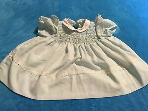 1960s Blue Polly Flinders Baby Dress with Pink and Green Smocking Size NB 0-3 Mo