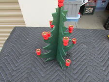 "VINTAGE WOODEN CUT OUT CHRISTMAS TREEE With  9 WOOD  CANDLE HOLDERS 12"" x 8"""