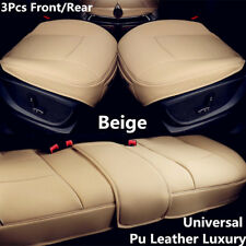 3 Pcs Beige PU Leather Car Truck Interior Seat Cover Protector Cushion Universal