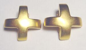 RARE* VINTAGE Gold Plated ROBERT LEE MORRIS Modernist STUDIO CROSS EARRINGS