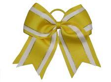 "NEW ""Yellow Glitz"" Cheer Bow Pony Tail 3"" Ribbon Girls Hair Bows Cheerleading"