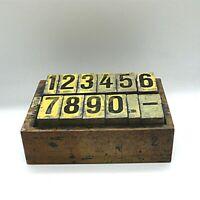 Vintage originaler antiker Setzkasten mit Zahlen ca.22 x 16 x 8 cm No.1331