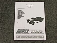 Manco Corvette 703-01 Go-Kart Supplement Operator Parts List Manual Cart