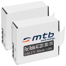 240 USB 2x Baterìa 410 RL410 para Rollei Actioncam 230 400 Cargador