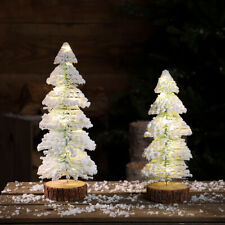 31cm Pre Lit LED Light Up Snowy Christmas Tree Table Decoration   Indoor Home