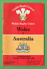 #Mm. Wales V Australia Rugby Union Program 5th December 1981
