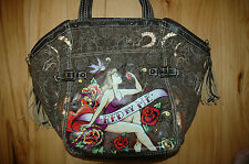 "Used RED by Marc Ecko Brown Purse Handbag Gym Tote Bag ""Garden of Eve"" Canvas"