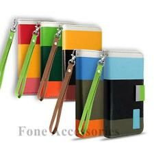 Stylish leather Colour Stripe Wallet Case &Stand for Apple iPhone 5 5G iPhone 5S