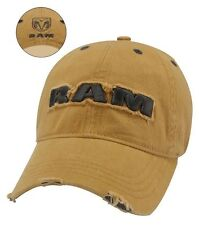 BRAND NEW DISTRESSED LOOK EMBROIDERED BOLD 3D DODGE RAM HEMI YELLOW HAT / CAP!