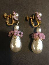Signed Miriam Haskell Large Baroque Pearls Pear/Shape Earrings Jewelry