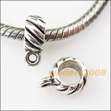 15 New Tube Tibetan Silver Bail Bead Fit Bracelet Chrams Connectors 8x11mm