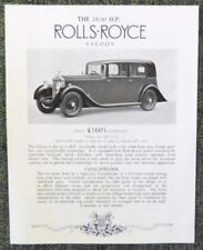 ROLLS ROYCE 25/30 HP SALOON CAR SALES SHEET APRIL 1936