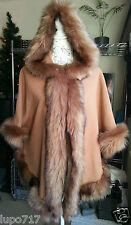 WOMENS CAMEL LUXURY FLUFFY FAUX FUR HOODED WINTER CAPE COAT PONCHO 1 SIZE NEW
