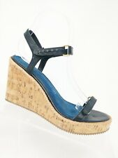Gap Black Strappy Leather Sandal Cork Wedges Size 8