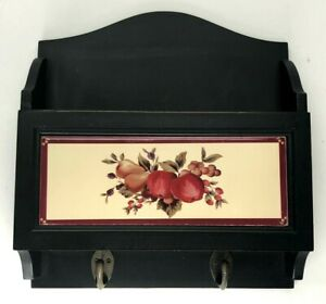 Wood Wall Key Holder Rack Hooks Letter Storage Black Red Ceramic Apple Country