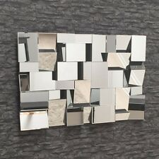 BRAX 3D FACETED GLASS WALL MIRROR 120 x 80cm ART DECO TILED CONTEMPORARY NEW!