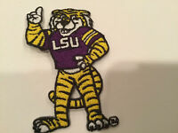 "LSU TIGERS vintage iron on embroidered patch 2.75"" X 1.75"""