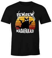 Herren T-Shirt Pew Pew Madafakas Katze Western Cat Meme Fun-Shirt Spruch lustig