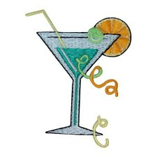ID 1138Z Green Martini Patch Cocktail Mix Drink Embroidered Iron On Applique