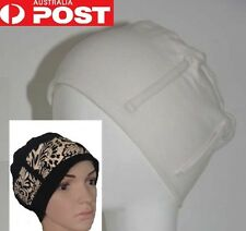 Chemo Hat Cap +1 FREE Bandana Scarf Black or White Medical Hair Loss Alopecia