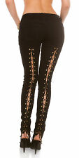 Women's Lace-Up Stretch Denim Skinny Jeans - XS/S/M/L/XL