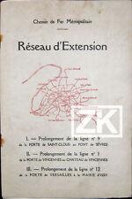 METRO LIGNE N°9-1-12 Plaquette + 2 Plans Saint-Cloud Vincennes Versailles 1930s