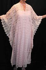 S~M 2pc VTG 60s 70s  BOHO CAFTAN PINK Crochet ALL LACE MAXI DRESS and SLIP