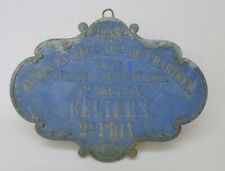 Large Antique French 1895 Competition Award Blue Plaque Sheep Rams 2nd Place