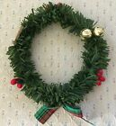 """A 3 1/2"""" D Artificial Christmas Wreath w/a Red & Green Plaid Bow & Jingle Bells."""