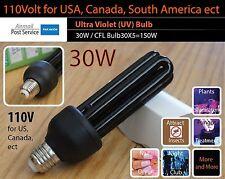 30W UV Ultra Violet Bulb 110V E27 ES Screw Mount Black Light Lamp CFL Save 150W