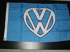 VW HEART 5' X 3' FLAG VANFEST  DUBS ON THE BEACH WITH 2 FREE VW HAND FLAGS.