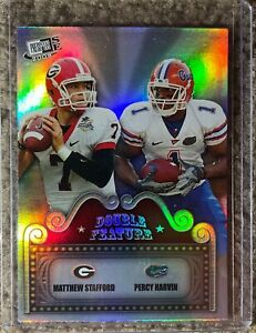 2009 PRESS PASS CHROME MATTHEW STAFFORD PERCY HARVIN REFRACTOR #DF-1 NM ROOKIE