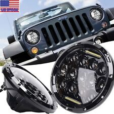 "2x 7"" LED Car Headlight Head Lamp H4 For Jeep Wrangler JK 4 Door Unlimited 07-16"