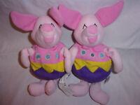 "2 Disney Winnie the Pooh Easter Egg Piglet Bean 9"" Plush Soft Toy Stuffed Animal"