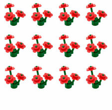 LEGO Red Flowers Flower X36 And Stems X12 (12 LEGO Flowers) New city park friend