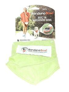 Pet Travel Water Bowl Dog Wearable Bandana Waterproof Green SMALL UPto 25lbs NEW