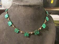 Stunning Art Deco Rare Czech Green Vauxhall Glass Necklace,Signed