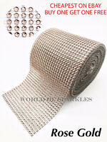 Rose Gold Rhinestones Diamante Effect Ribbon for Wedding Cake Card Trim Sewing
