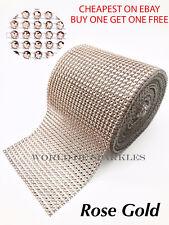 80cm Rose Gold Rhinestones Diamante Effect Ribbon Various Arts & Crafts Sewing
