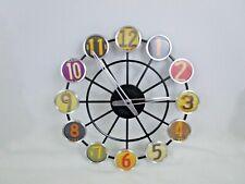 "License Plate Wall Clock 14"" Metal Spoke Wheel Multi Color Numbers Man Cave"