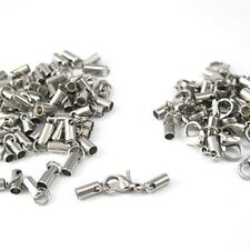 12 Set Wholesale Lot Silver Stainless Steel End Caps Lobster Clasp Connector NEW