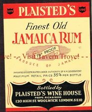 Unused 1940s ENGLAND London Woolrich PLAISTED'S FINEST JAMAICA RUM Label