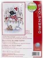 "Dimensions Counted Cross Stitch Kit 5""X7""-Joyful Snowman (14 Count)"