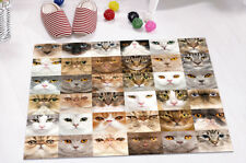 "Soft Memory Foam Collage of 36 Cat Heads 24x16"" Kitchen Bathroom Bath Door Mat"