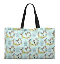 S4Sassy Bird Canvas Large Tote Bag for Beach Shopping Groceries Books-BRD-23A