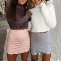 Women Fluffy Crop Turtleneck Pullover Winter Knitted Sweater Jumper Knitwear Top