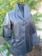 VINTAGE WORTHINGTON BLACK GENUINE LEATHER JACKET COAT MOTORCYCLE BUTTON DOWN MED