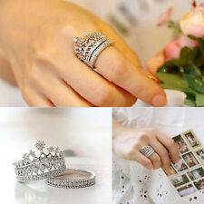 2PCS Women's Fashion Queen Crown Pattern Ring Set Rhinestones Rings