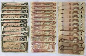 LOT OF $60 FACE VALUE TWO DOLLAR NOTES 1954 1974 1986 OTTOWA $2 BILLS CANADA