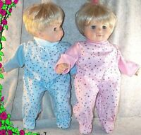 "Doll Clothes BabyMade 2 Fit American Girl 15"" Boy Twins Pajamas Pink Blue Dots"